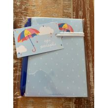 Kadoset juf/meester Aju Paraplu: Notitieblok + pen + minikaartje