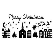 Raamsticker Kerst huisjes [Voor eenmalig gebruik of herbruikbaar]