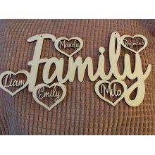 Houten Familybord met namen